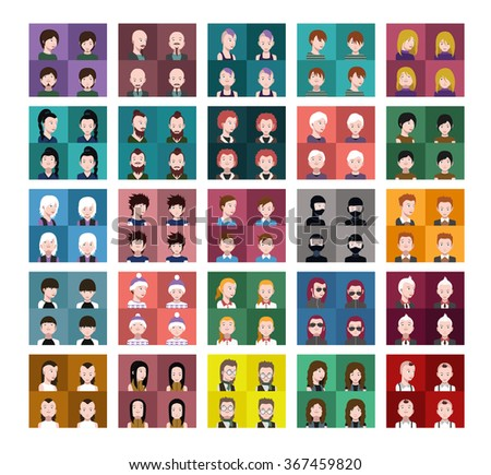 Avatar Icons set With eyes nose and mouth Left,Up,Front,Right Down view - stock vector