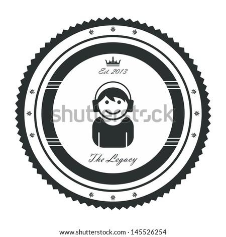avatar label graphic art headphone guy - stock vector
