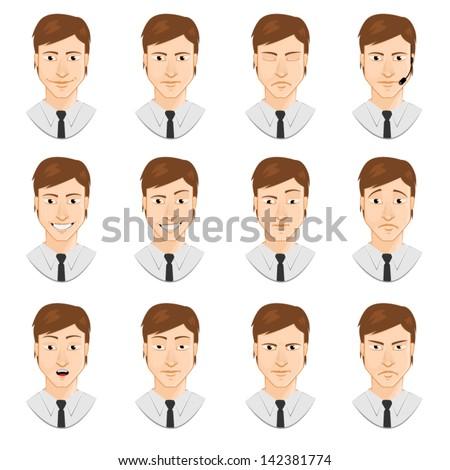 Avatar: man emotions - stock vector
