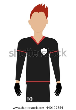 avatar man soccer player with sports clothes front view over isolated background,vector illustration - stock vector