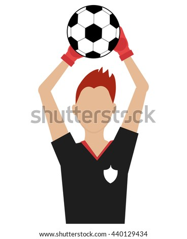 avatar man soccer player with sports clothes holding a soccer ball front view over isolated background,vector illustration - stock vector