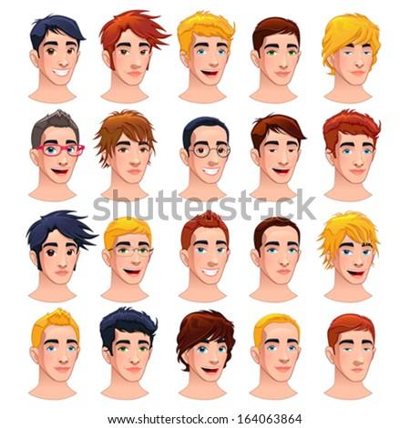 Avatar men. Cartoon vector isolated characters. - stock vector