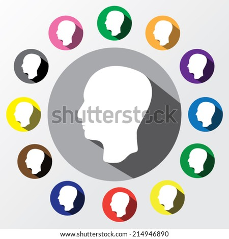 Avatar of head with long shadow on a colorful background.
