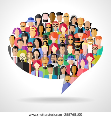 Avatar people in the form of speech bubble The concept of  communication. The file is saved in the version 10 EPS. This image contains transparency.   - stock vector