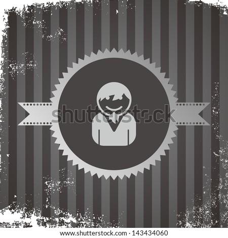 avatar portrait icon vintage grungy beard guy - stock vector