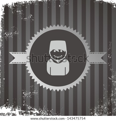 avatar portrait icon vintage grungy muslim - stock vector