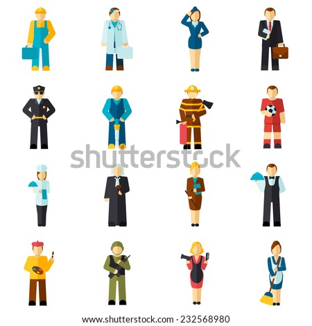 Avatar professions flat avatars set with fireman pilot worker doctor isolated vector illustration - stock vector