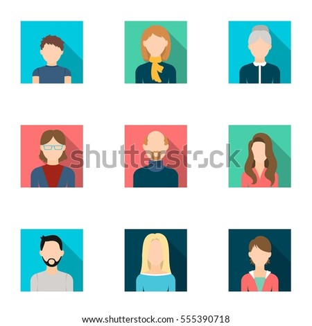 Avatar set icons in flat style. Big collection of avatar vector symbol stock illustration