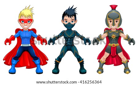 Avatar young superheroes and warriors. Vector isolated characters.  - stock vector