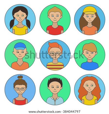 Avatars. Children.Girls and boys of different appearance and nationality.