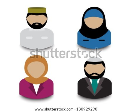 Avatars four Muslim men and women on a white background - stock vector