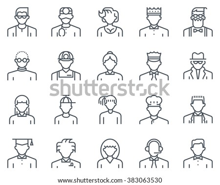 Avatars icon set suitable for info graphics, websites and print media and  interfaces. Line vector icon set. - stock vector