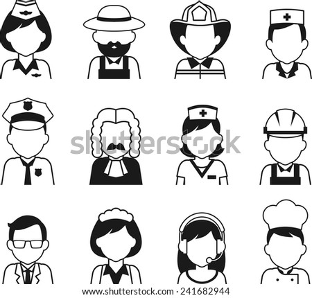 Avatars of different people professions characters n thin flat style - stock vector