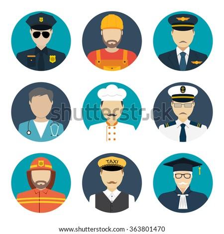 Avatars profession people: cop, builder, pilot, doctor, cook, sailor, fireman, taxi driver, judge. Face men uniform. Avatars in flat design. Vector illustrations - stock vector