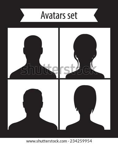 Avatars set dark vector illustration, eps10, easy to edit - stock vector