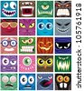 Avatars: Set of 20 square avatars. - stock photo