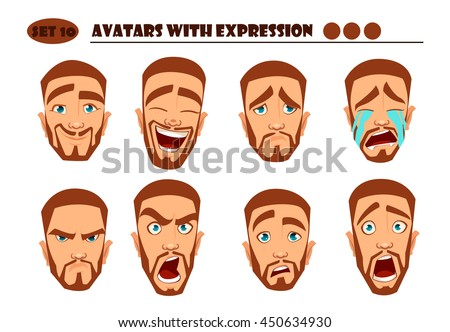 Avatars with expression. Red Man with 8 expression. Joy, laughter, sorrow, sadness, anger, rage, surprise, shock, crying