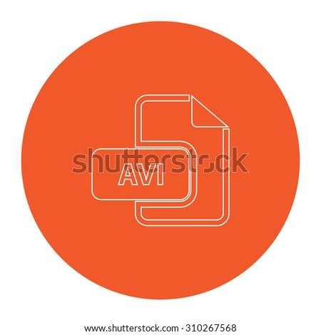 AVI video file extension. Flat outline white pictogram in the orange circle. Vector illustration icon - stock vector