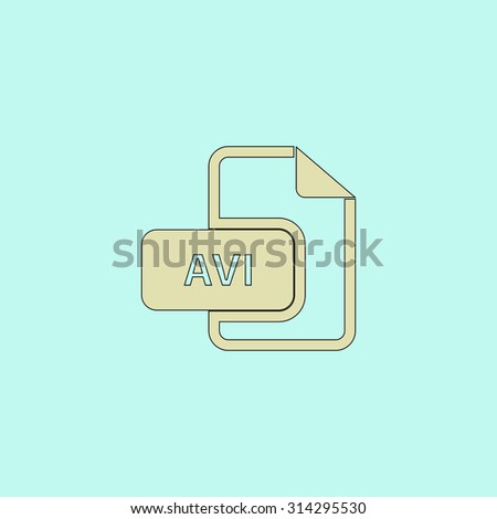 AVI video file extension. Flat simple line icon. Retro color modern vector illustration pictogram. Collection concept symbol for infographic, logo and project - stock vector