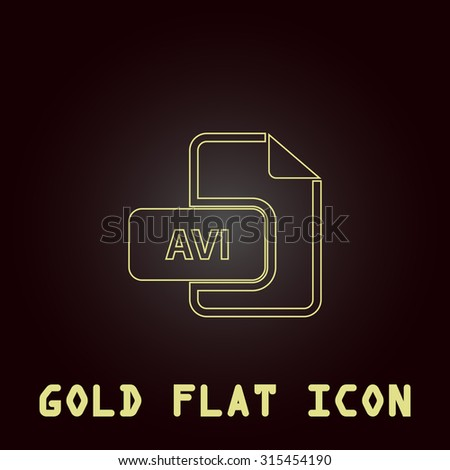 AVI video file extension. Outline gold flat pictogram on dark background with simple text.Vector Illustration trend icon - stock vector