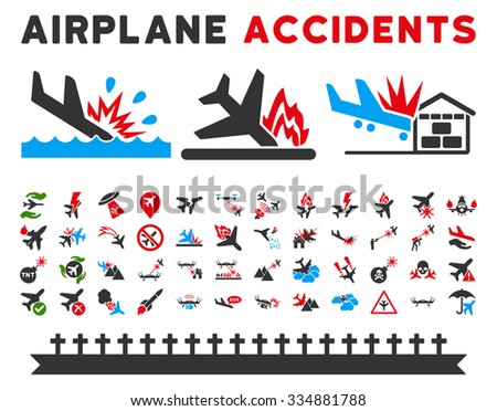 Aviation Accidents Vector Icon Collection. Here are airplane crashes, terrorist attacks, military drones, plane accidents. - stock vector