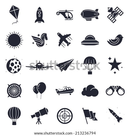 Aviation and flying objects theme, black and white icons. - stock vector