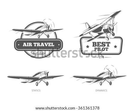 Aviation badges logos and emblems labels. Aircraft and plane, pilot and travel, vector illustration - stock vector