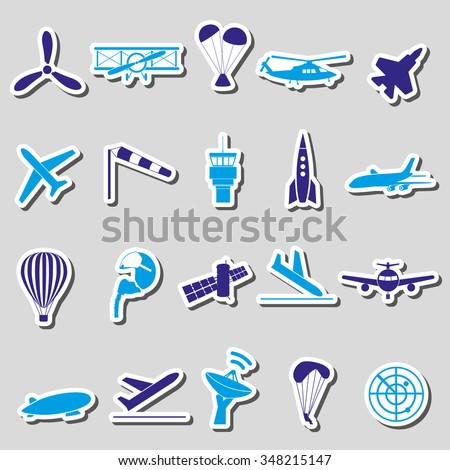 aviation big set of simple blue stickers eps10