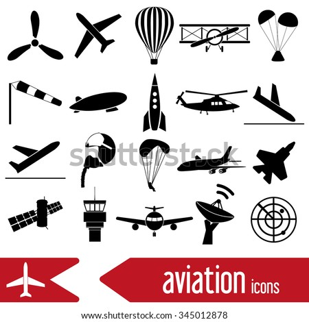 aviation big set of simple icons eps10