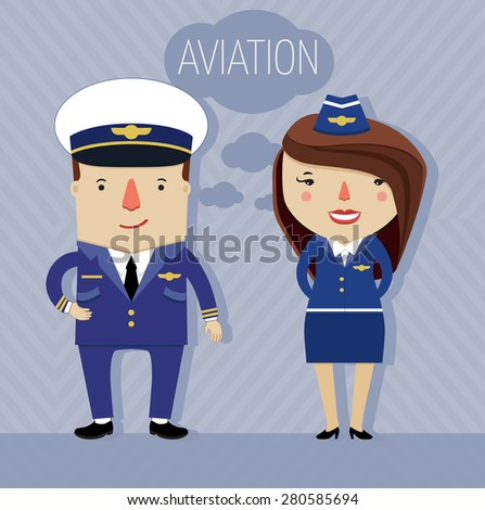 aviation crew. male pilot and female stewardess in uniform. character design. vector illustration  - stock vector