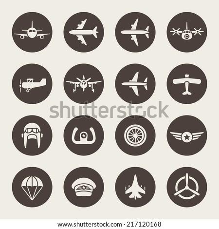 Aviation icon set - stock vector