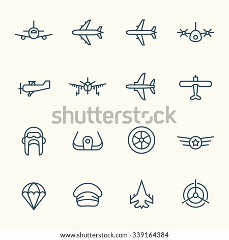 Aviation icon set - stock vector