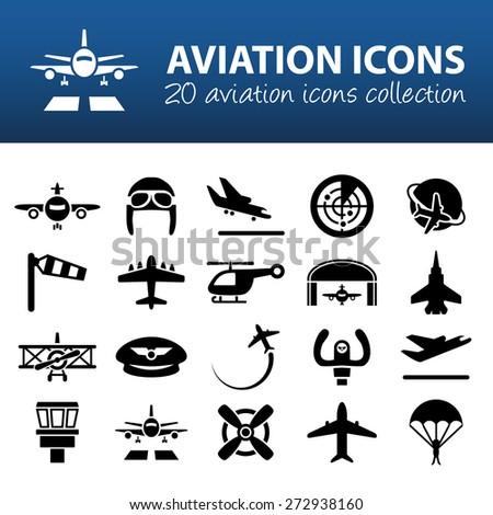 aviation icons - stock vector