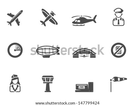 Aviation icons in single color - stock vector