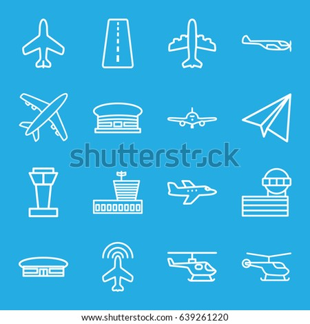 Aviation icons set. set of 16 aviation outline icons such as plane, airport tower, runway, helicopter, airport
