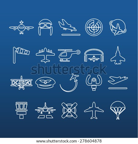 aviation outline icons - stock vector