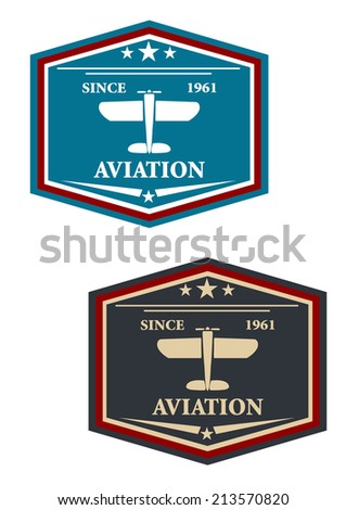 Aviation symbol or insignia with retro airplane, suitable for transportation and aircraft design - stock vector