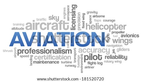 Aviation Word Cloud Blue Bubble Tags Tree Vector - stock vector