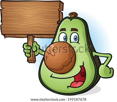 Avocado Cartoon Character Holding Wooden Sign - stock vector