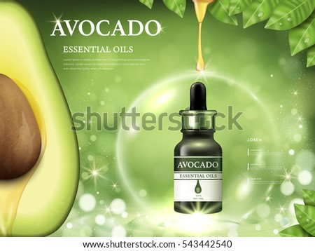 Avocado essential oil ads, fruit anatomy on the left side and oil dripped from top isolated on bokeh green background, 3d illustration