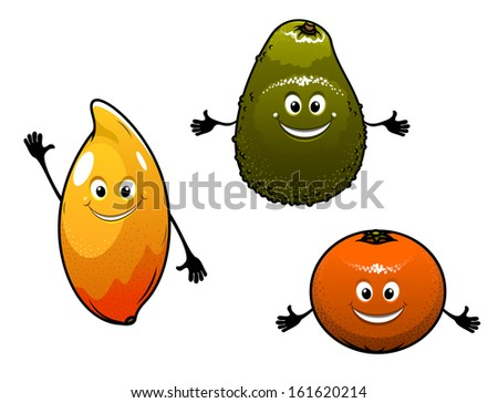 Avocado, mango and orange fruits isolated on white background in cartoon style or idea of logo. Jpeg version also available in gallery - stock vector