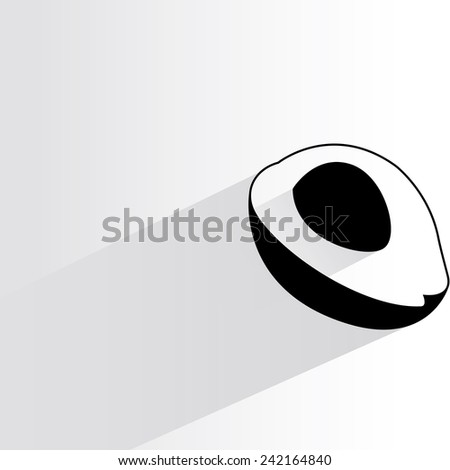 avocado on white background, flat and shadow theme - stock vector