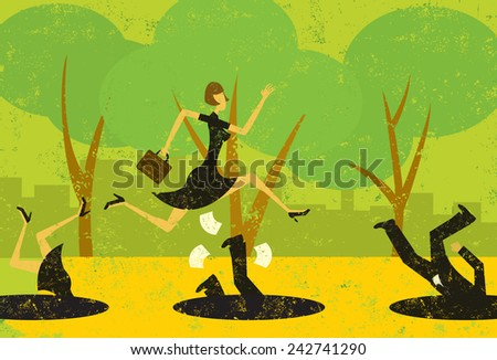 Avoiding Business Pitfalls A businesswoman jumping over pitfalls while others fall into them. The people and the background are on separately labeled layers. - stock vector