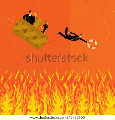 Avoiding going to hell in a hand basket Business people �¢??going to hell in a hand basket with one man jumping for a life preserver.  - stock vector