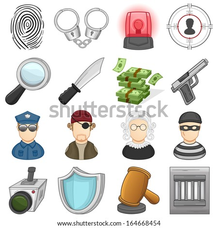 aw, Justice & crime Icons Set  // Illustration - stock vector