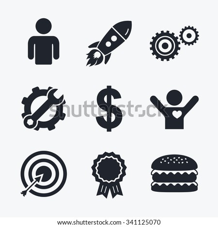 Award achievement, spanner and cog, startup rocket and burger. Business icons. Human silhouette and aim targer with arrow signs. Dollar currency and gear symbols. Flat icons. - stock vector