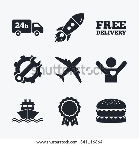 Award achievement, spanner and cog, startup rocket and burger. Cargo truck and shipping icons. Shipping and free delivery signs. Transport symbols. 24h service. Flat icons. - stock vector