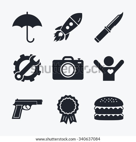 Award achievement, spanner and cog, startup rocket and burger. Gun weapon icon.Knife, umbrella and photo camera signs. Edged hunting equipment. Prohibition objects. Flat icons. - stock vector