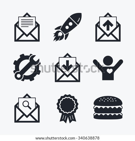 Award achievement, spanner and cog, startup rocket and burger. Mail envelope icons. Find message document symbol. Post office letter signs. Inbox and outbox message icons. Flat icons. - stock vector