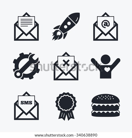Award achievement, spanner and cog, startup rocket and burger. Mail envelope icons. Message document symbols. Post office letter signs. Delete mail and SMS message. Flat icons. - stock vector